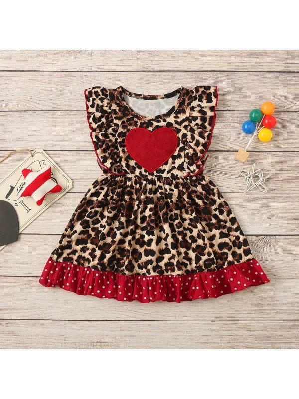 【18M-7Y】Girls Leopard Print Heart Pattern Dress