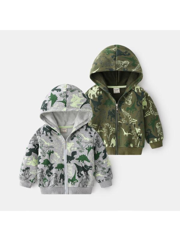 【18M-7Y】Boys Dinosaur Print Hooded Jacket