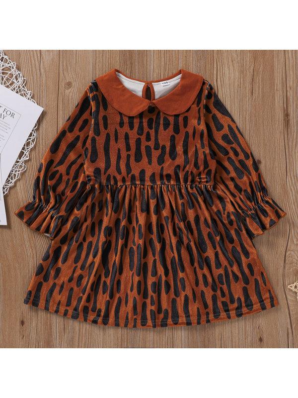 【18M-7Y】Girls Leopard Print Doll Collar Long Sleeve Dress