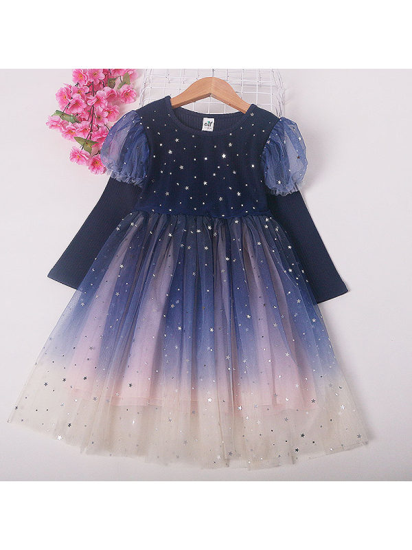 【2Y-9Y】Girls Long-sleeved Princess Mesh Dress