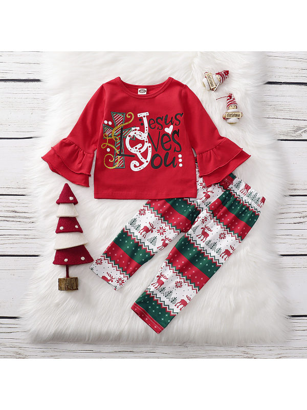 【12M-5Y】Girls Christmas Style Long Sleeve Two-Piece Set