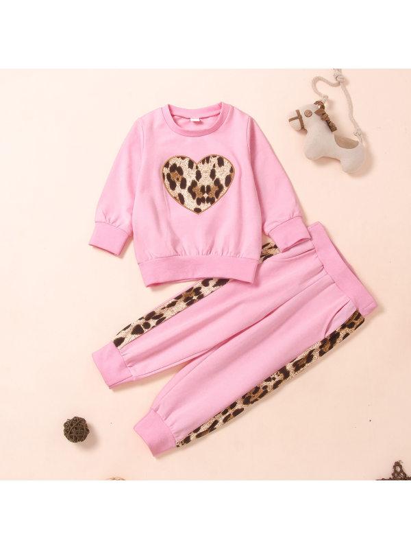 【18M-7Y】Girls Love Leopard Print Two-piece Suit
