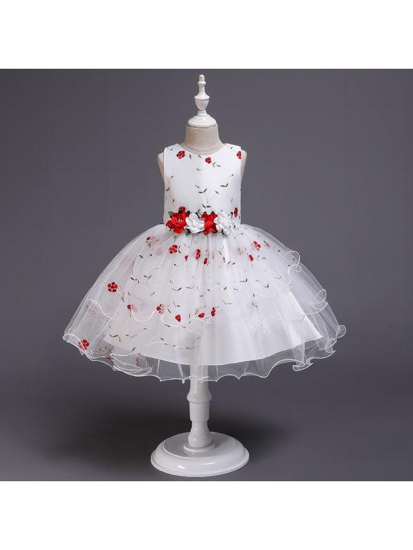 【3Y-10Y】Girls Floral Net Gauze Dress