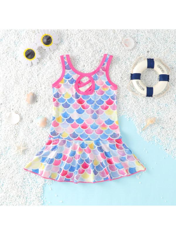 【3M-18M】Girls One-Piece Mermaid Swimsuit