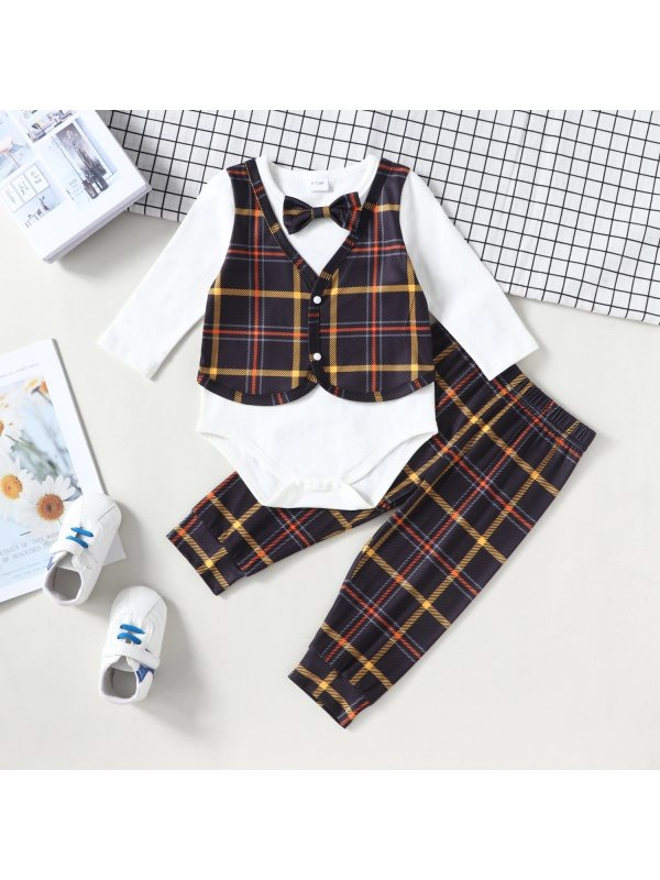 【3M-24M】Baby Long-sleeved Fake Two-piece Top Plaid Pants Set
