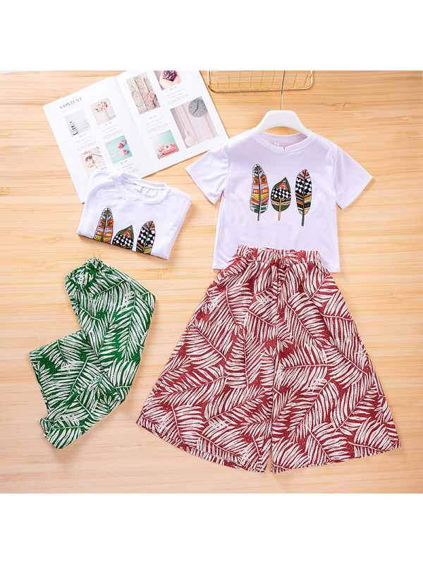 【3Y-13Y】Girls Loose Printed T-shirt Floral Wide Leg Pants Two-piece Suit