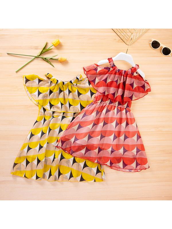 【3Y-13Y】Girls Geometric Print Chiffon Sling Dress