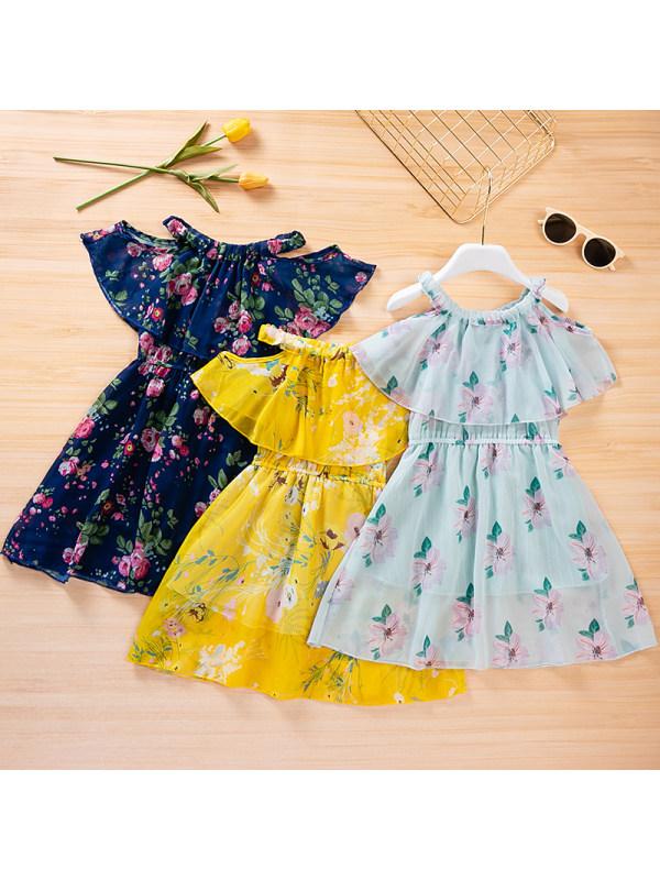 【3Y-13Y】Girls Floral Sling Mesh Dress