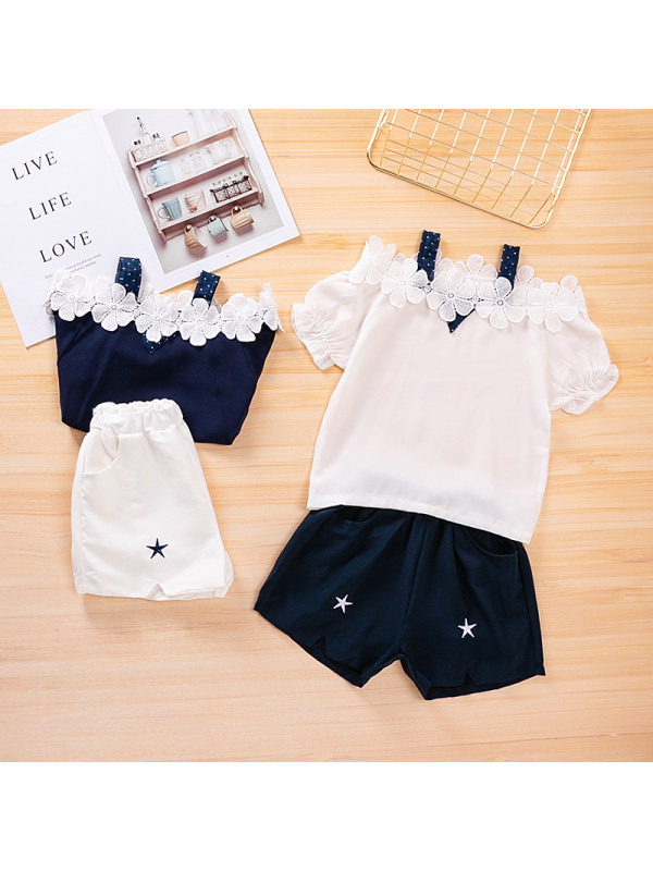 【3Y-13Y】Girls Chiffon Sling Top Blue Shorts Two-piece Suit