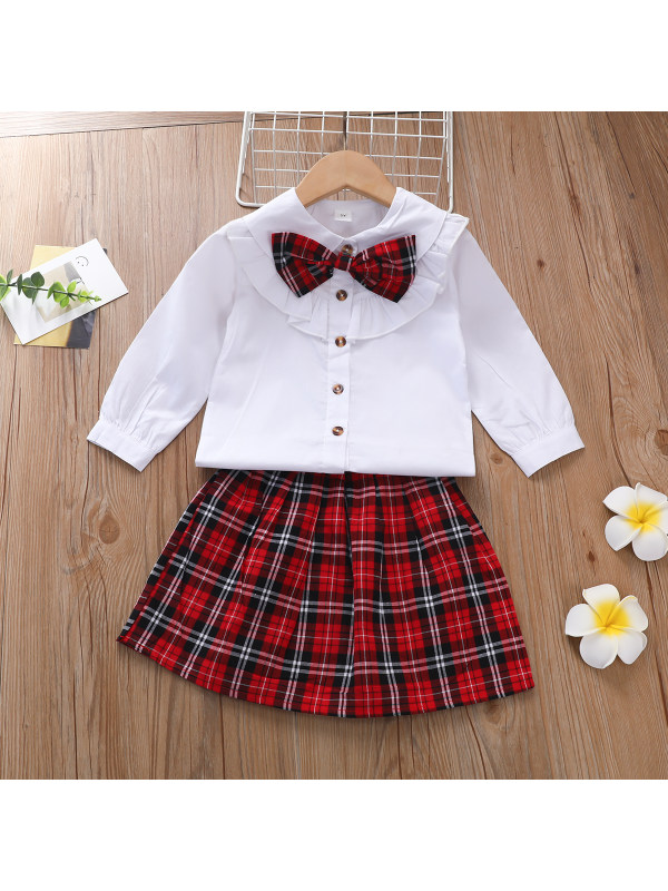 【2Y-9Y】Girls Bowknot Shirt Plaid Top and Skirt