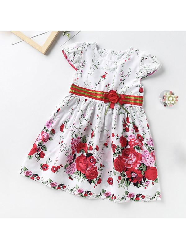 【3Y-13Y】Girl Round Neck Petal Sleeve Flower Dress