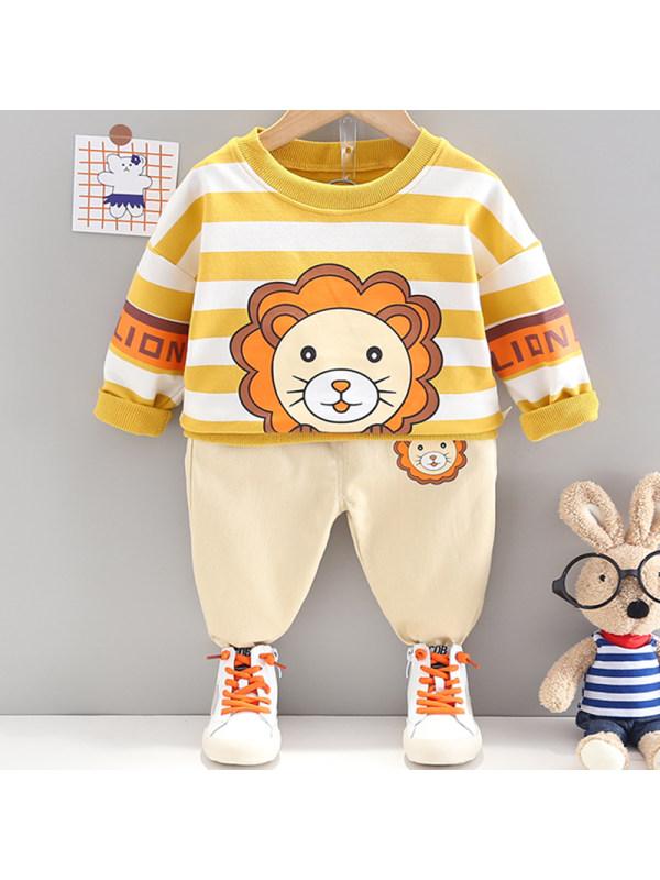 【12M-4Y】Boys Fashion Lion Pattern Sweatshirt Pants Set
