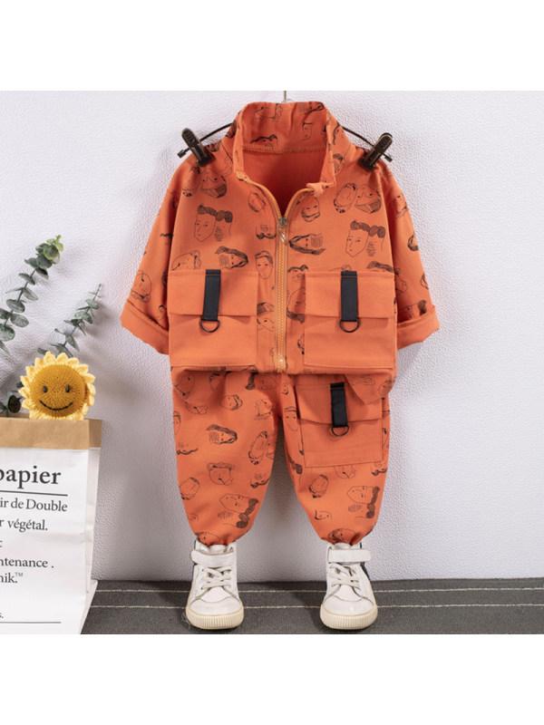 【12M-5Y】Boy Fashion Cartoon Pattern Jacket Pants Set