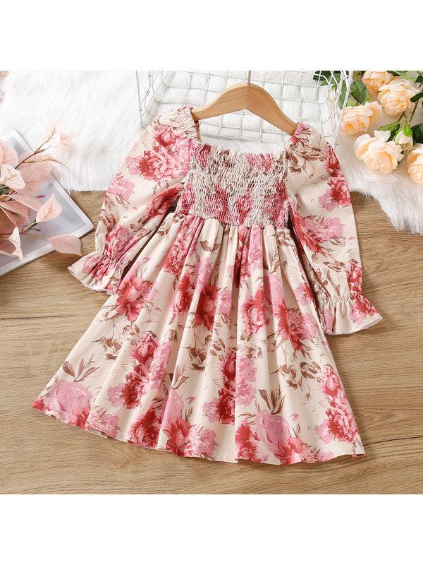 【18M-7Y】Girl Sweet Flower Long Sleeve Dress
