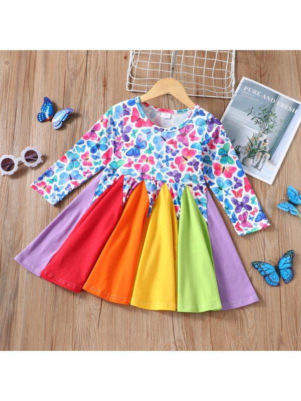 【18M-7Y】Girl Butterfly Rainbow Contrast Dress