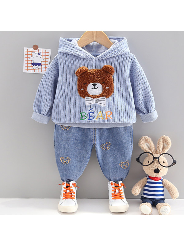 【12M-4Y】Boy Fashion Bear Pattern Hooded Sweatshirt Pants Set