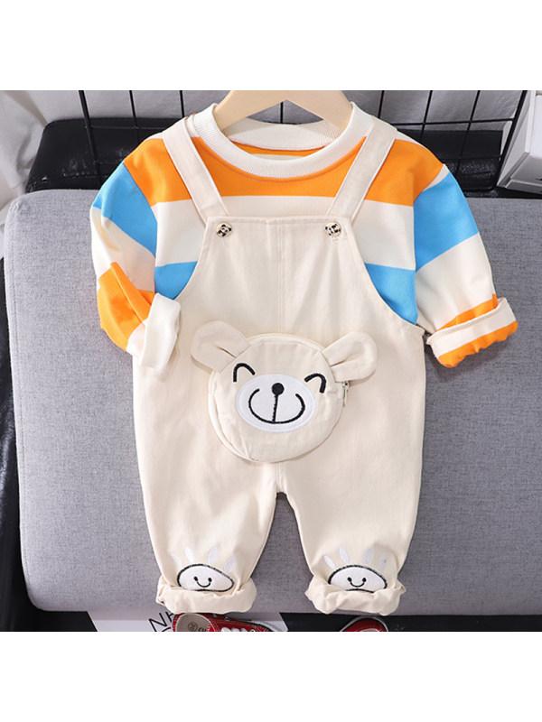 【12M-5Y】Boys Fashion Color Striped Sweatshirt Bear Pattern Overalls Set