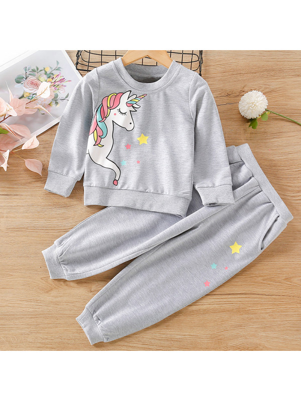 【12M-5Y】Girls Sweet Unicorn Pattern Sweatshirt Pants Set
