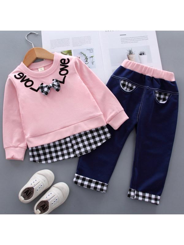 【12M-4Y】Kids Fashion Plaid Stitching Sweatshirt Pants Set
