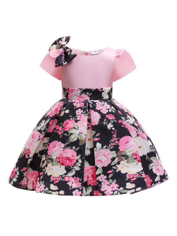 【3Y-10Y】Girl Pink Floral Print Bowknot Princess Dress