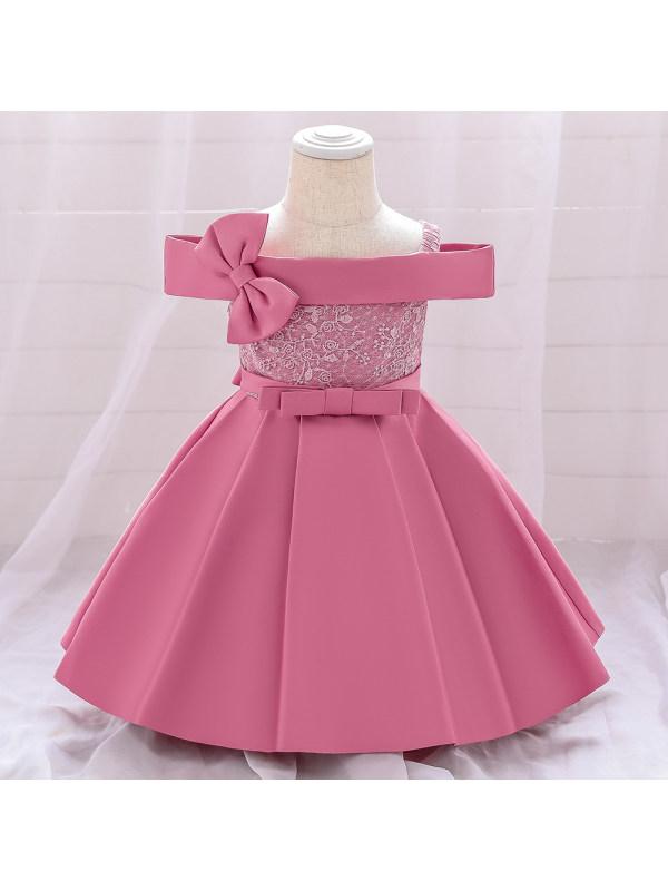 【18M-7Y】Girls Sweet Bowknot Off The Shoulder Princess Dress