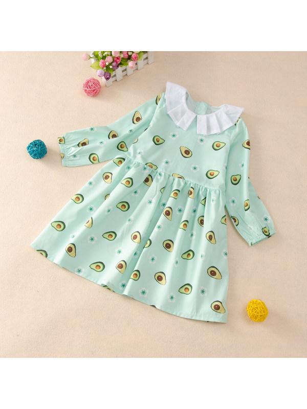 【18M-7Y】Girl Avocado Full Print Dress