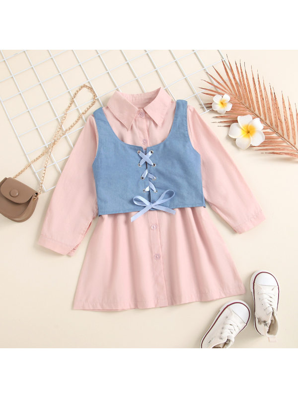 【6M-4Y】Girls Pink Long-sleeved Shirt Dress Denim Vest Suit
