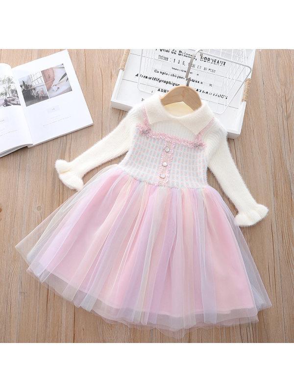 【18M-7Y】Girls Pink Mesh Stitching Long-sleeved Woolen Dress