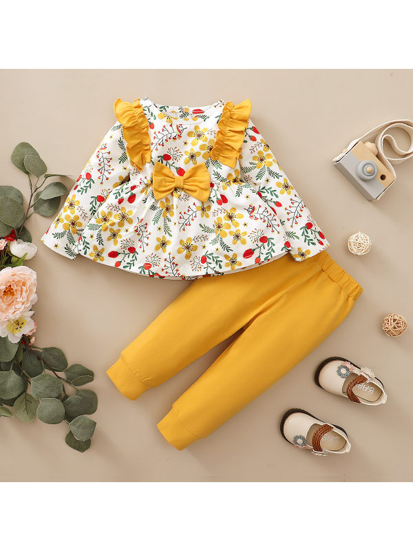 【12M-4Y】Girls Floral Printed Long-sleeved Blouse Solid Color Trousers Two-piece Suit