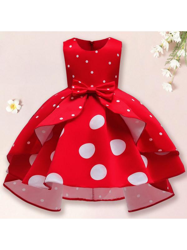 【2Y-11Y】Girls Sweet Polka Dot Print Sleeveless Princess Dress