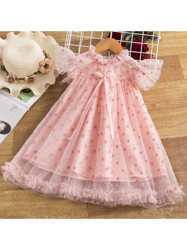 【2Y-9Y】Girls Polka Dot Sleeveless Pleated Mesh Dress