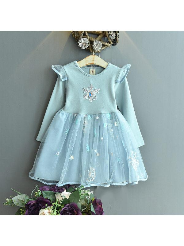 【18M-7Y】Girls Sweet Mesh Stitching Long-sleeved Dress