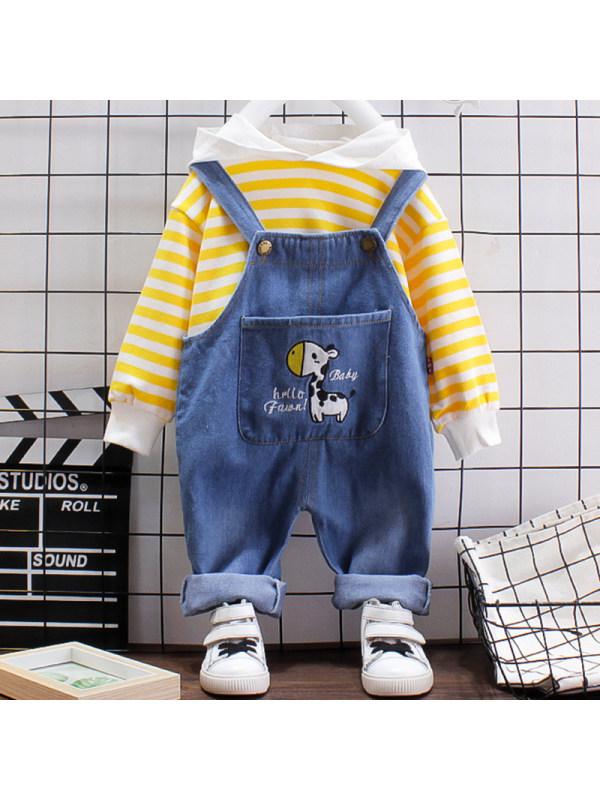 【12M-4Y】Boys Fashion Striped Hooded Sweatshirt Denim Overalls Set