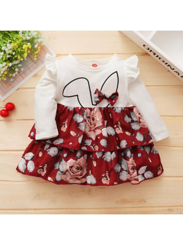 【12M-3Y】Girls Long Sleeve Bunny Ears Rose Print Layered Dress