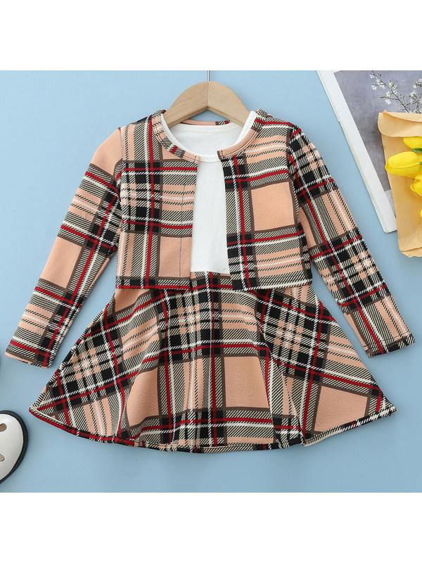 【18M-7Y】Girls Sweet Plaid Print Long Sleeve Suit