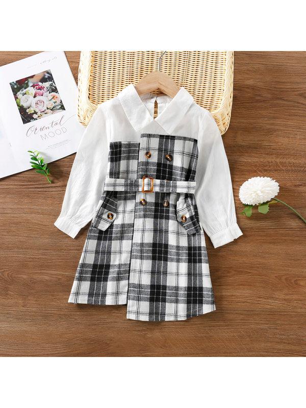 【12M-5Y】Girls Stitching Plaid Trench Coat Dress