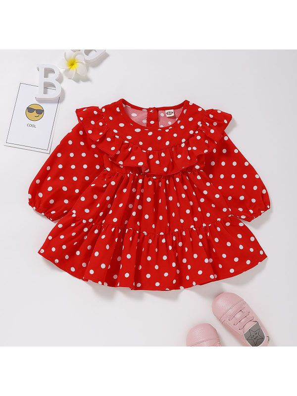 【6M-3Y】Girls Red Polka-dot High-waist Long-sleeved Dress