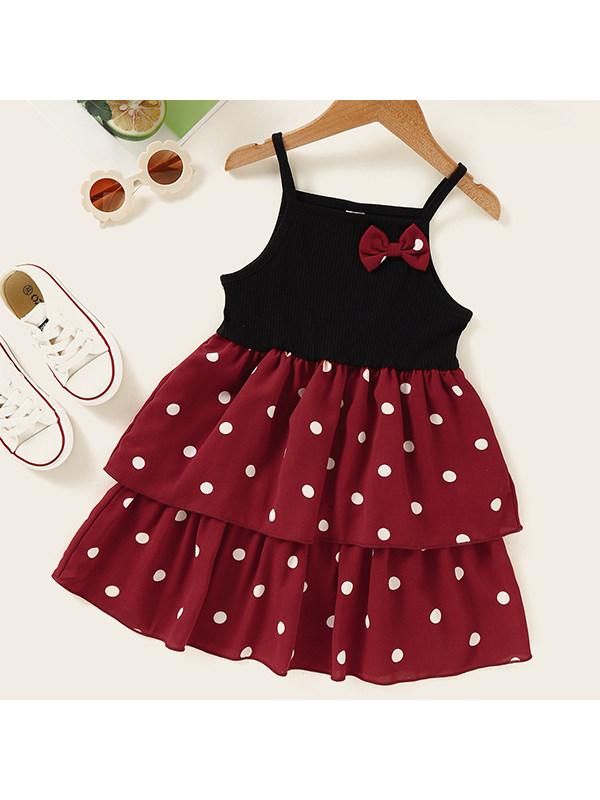 【18M-7Y】Girls Sleeveless Sling Polka Dot Print Dress