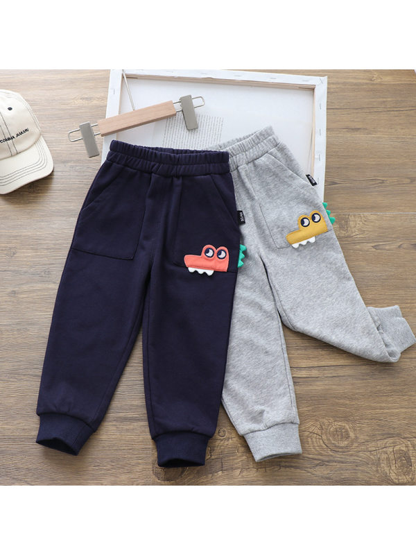【18M-7Y】Boys Cartoon Car Embroidered Casual Sweater Pants