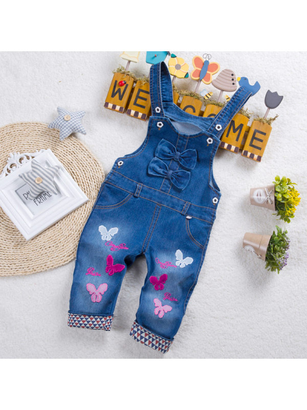 【12M-4Y】Girls Butterfly Embroidered Bow Denim Overalls