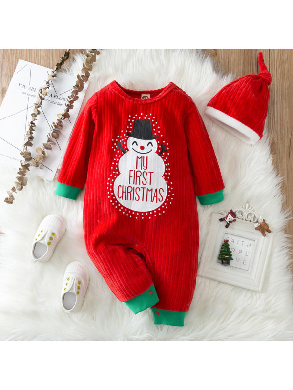 【0M-18M】Baby Cute Christmas Print Red Romper With Hat