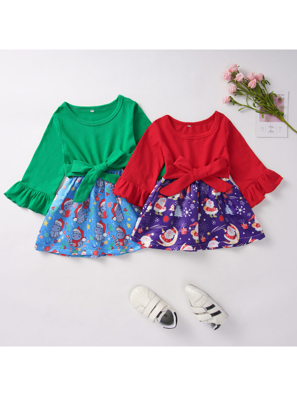 【12M-5Y】Girl Christmas Snowman Print Splicing Flare Sleeve Dress