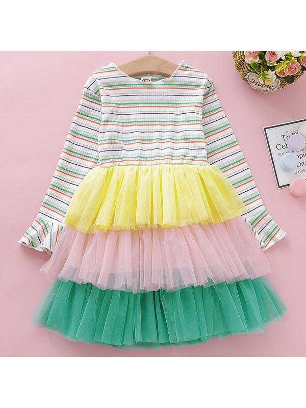 【12M-5Y】Girls Sweet Striped Mesh Long-sleeved Dress