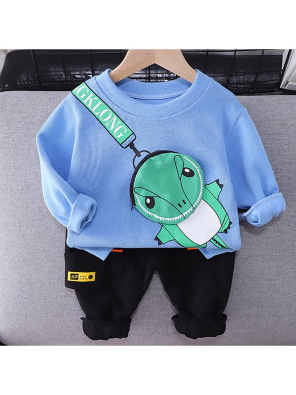 【12M-5Y】Boys Fashion Dinosaur Pattern Sweatshirt Pants Set