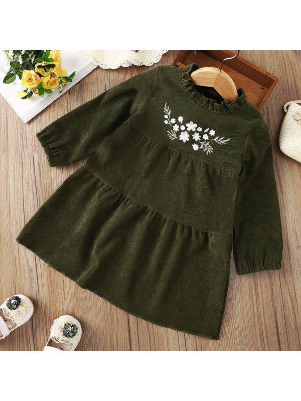 【12M-5Y】Girl Corduroy Embroidery Floral Long Sleeve Dress