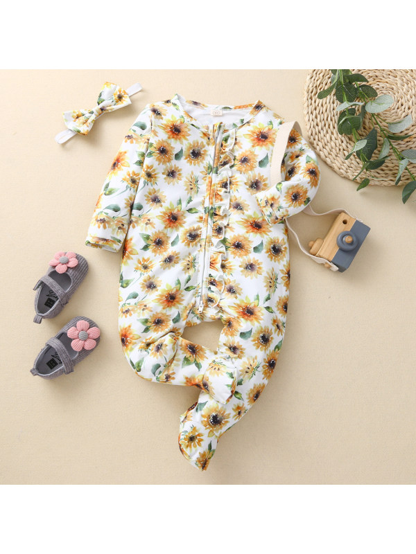 【3M-24M】Girls Cute Sunflower Print Long Sleeve Romper