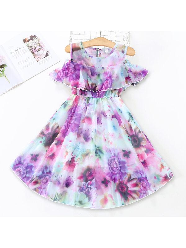 【3Y-13Y】Girls Floral Print Ruffled Sleeveless Mesh Dress