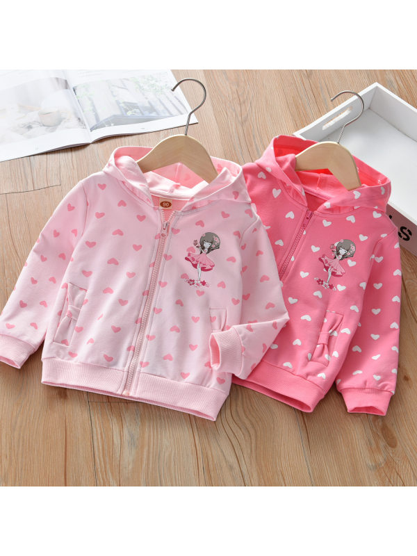 【18M-9Y】Girl Sweet Heart Pattern Hooded Jacket