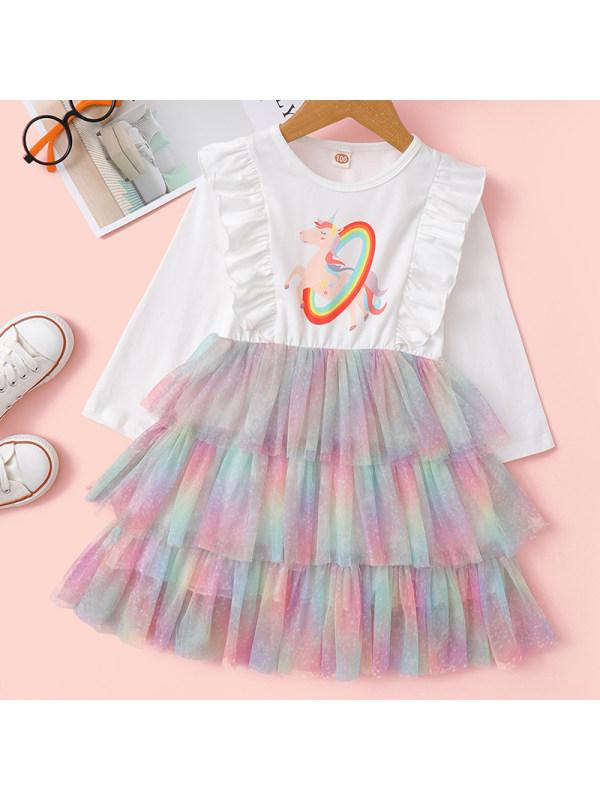 【18M-7Y】Girls Sweet Unicorn Pattern Long-sleeved Mesh Dress