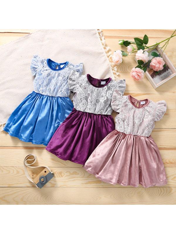 【3M-3Y】Girls Lace Stitching Dress